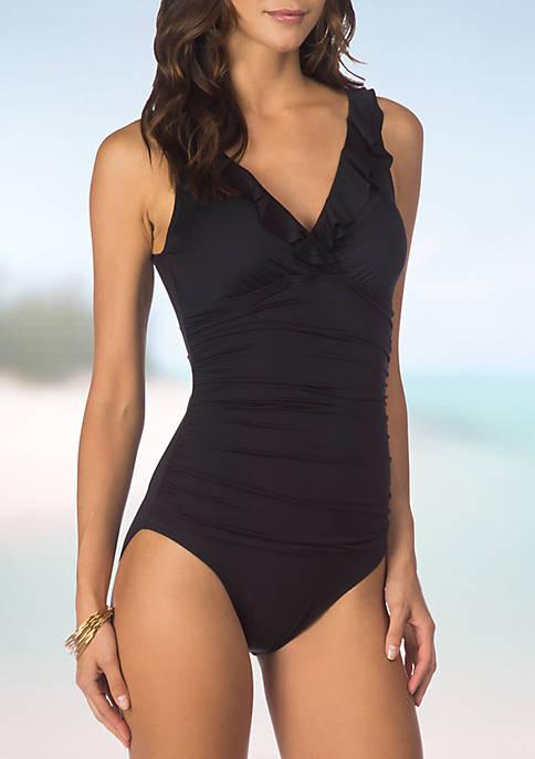 Lauren Ralph Lauren Beach Ruffle Surplice One-Piece Swimsuit