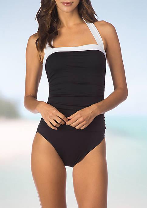 Bel Aire Solids Bandeau One Piece Swimsuit