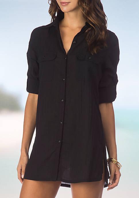 Lauren Ralph Lauren Crushed Camp Shirt Swim Cover