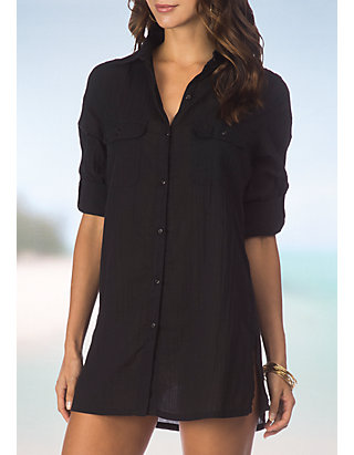 5fd07f0f5d Lauren Ralph Lauren. Lauren Ralph Lauren Crushed Camp Shirt Swim Cover Up