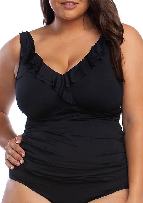 Lauren Ralph Lauren Plus Size Beach Ruffle Surplice