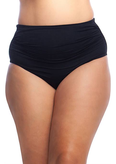 Plus Size Solid Shirred High Waist Swim Bottom