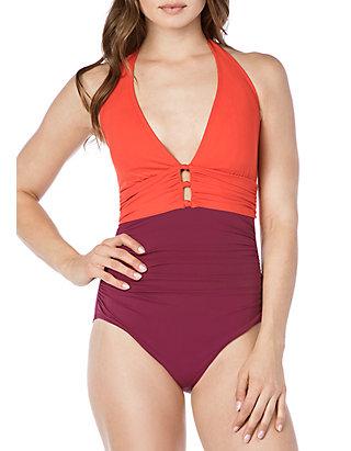 af6423bd7532 Lauren Ralph Lauren. Lauren Ralph Lauren Glamour Colorblock Halter One  Piece Swimsuit