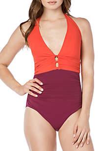 Lauren Ralph Lauren Glamour Colorblock Halter One Piece Swimsuit