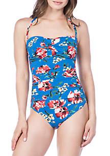 Lauren Ralph Lauren Havana Floral Bandeau One Piece Swimsuit