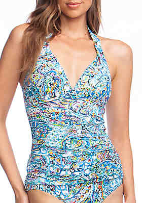 f22e7f600fdd4 Lauren Ralph Lauren Mystic Paisley Halter Swim Tankini Top ...
