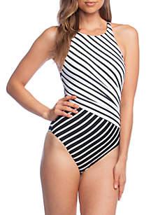 Lauren Ralph Lauren Mixed Stripe High Neck Swimsuit