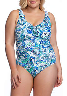 b748df4e1f4 ... Lauren Ralph Lauren Plus Size Fiesta Paisley Ruffle Surplice One Piece  Swimsuit