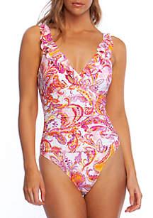 Lauren Ralph Lauren Fiesta Paisley Ruffle Surplice One Piece Swimsuit