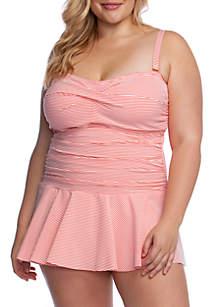 Lauren Ralph Lauren Plus Size Seersucker Stripe Twist Front Shirred Skirted One Piece Swimsuit