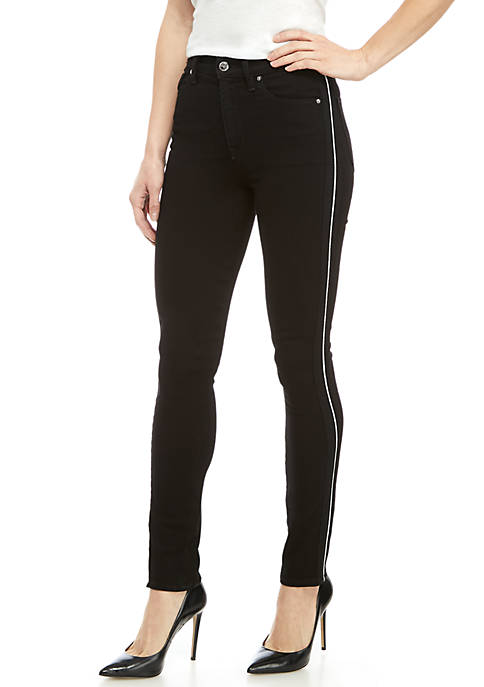 Holly High Rise Skinny Ankle Jeans with Piping