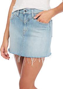 Front Yoke Raw Hem Skirt