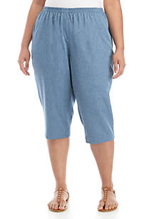 72f7c4fb963 ... Kim Rogers® Plus Size Denim Microfiber Capri Pants