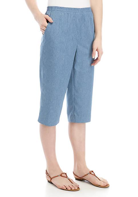Denim Microfiber Capri Pants