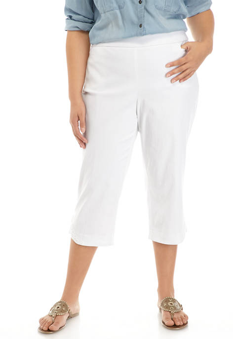 Plus Size Millennium Capri Pants with Crochet Hem