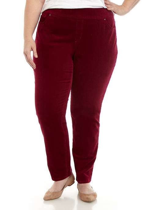 Plus Size Corduroy Pull On Straight Pants with Average Inseam