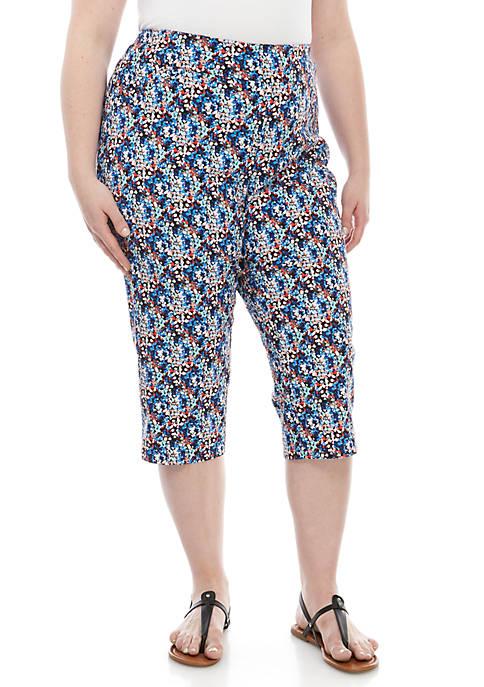 Plus Size Print Millenium Capri Pants
