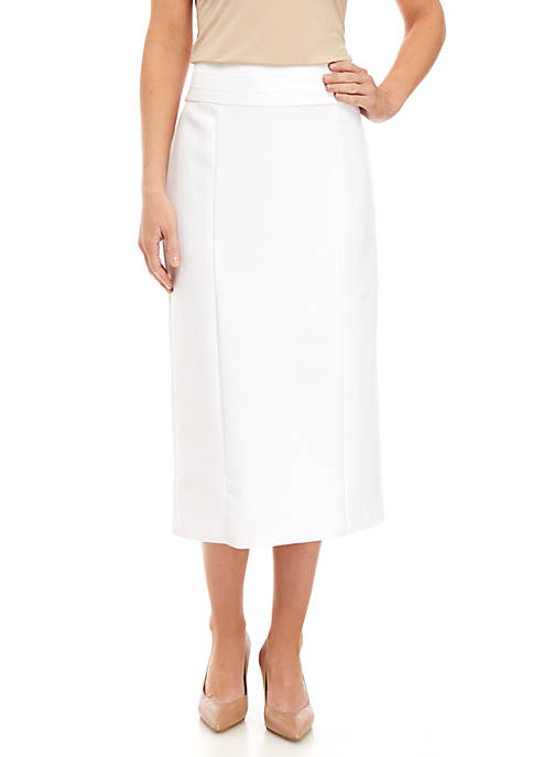 Knee Length White Suiting Pencil Skirt