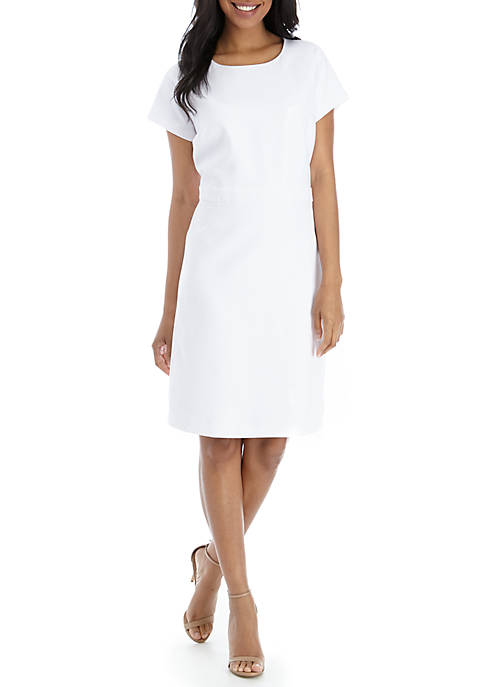 Short Sleeve White Suiting Dress