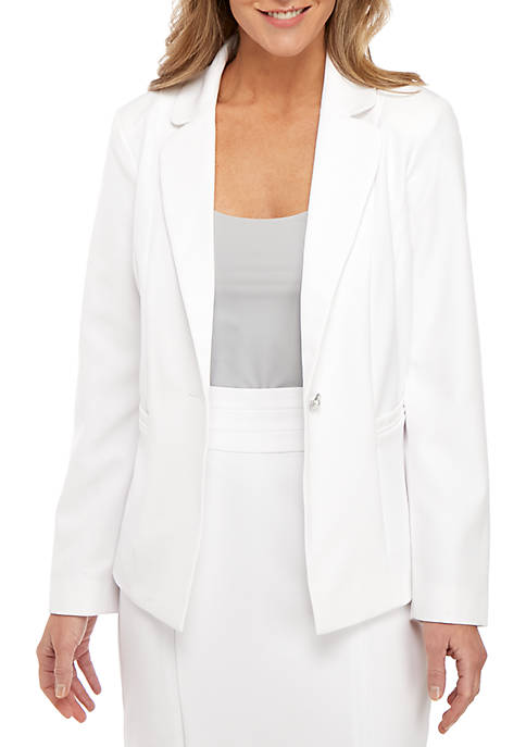 Kim Rogers® 1 Button White Suiting Jacket