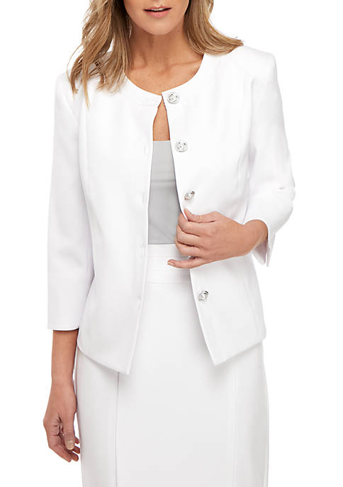 Kim Rogers® Mandarin Collar White Suiting Jacket