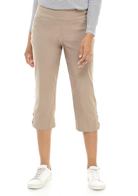 Womens Luxe Capri Criss Cross Hem Pants