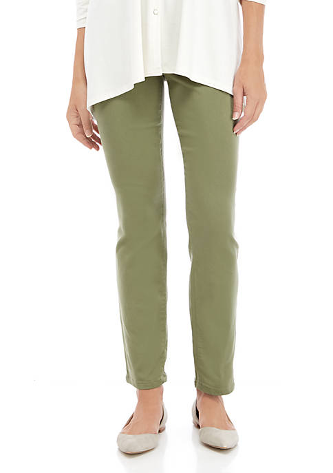 Womens Colored Pull On Denim Pants
