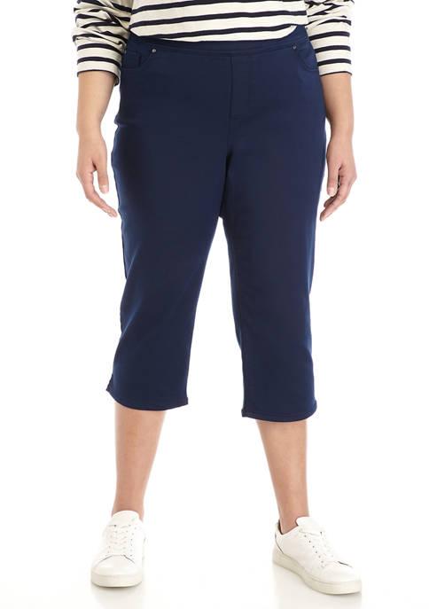 Kim Rogers® Plus Size Cotton Super Stretch Capri