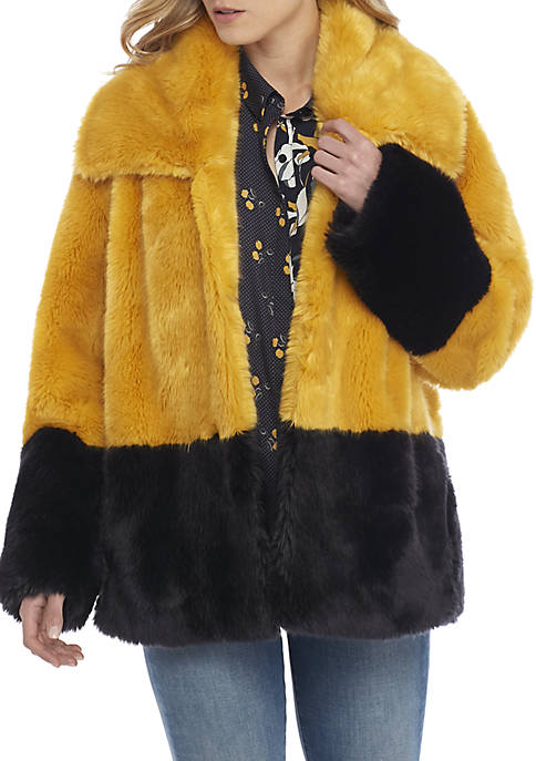 French Connection Sebille 2-Tone Fur Jacket