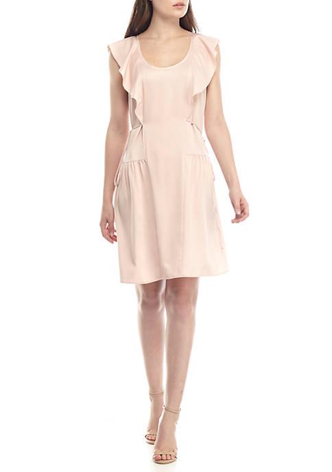 French Connection Nia Drape Ruffle Dress