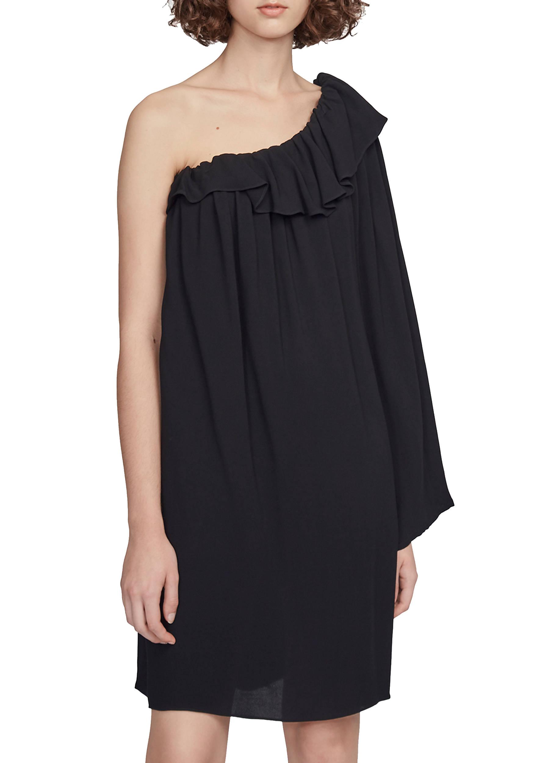 One Shoulder Trend Long Sleeve Ruffle Dress