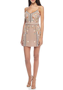 Bijou Embroidered Stitch Mesh Dress