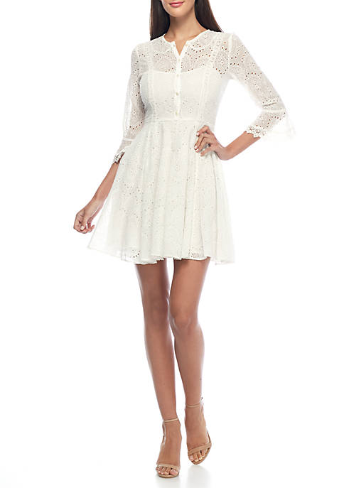 French Connection Derna Drape Eyelet Dress