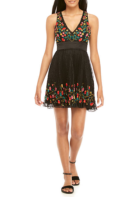 French Connection Amity Lace Embroidered Dress