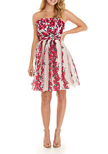 Edith Vintage Strapless Floral Dress