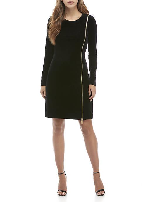 French Connection Long Sleeve Zella Aurore Velvet Dress