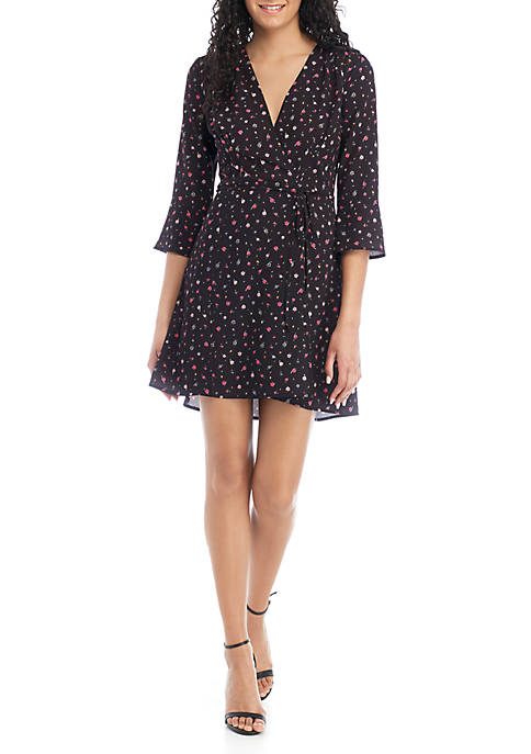 French Connection Long Sleeve Itsy Floral Wrap Dress