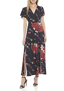 Floral Maxi Wrap Dress with Slits