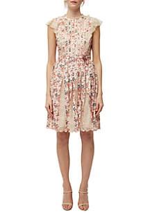 French Connection Eva Flutter Sleeve Printed Dress