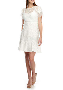 French Connection Chante Short Sleeve Lace Dress
