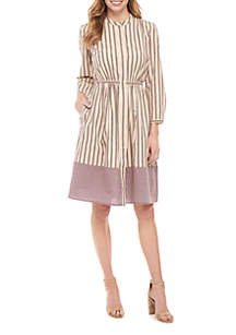 French Connection Long Sleeve Striped Button Front Dress