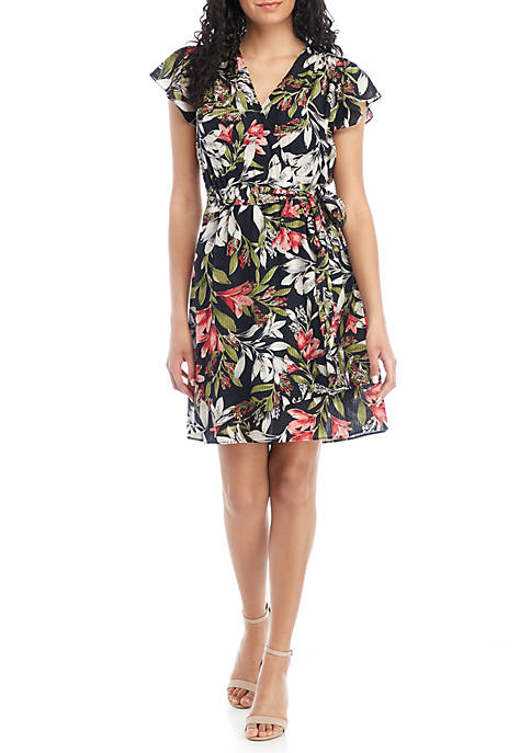 French Connection Floreta Short Sleeve Printed Dress