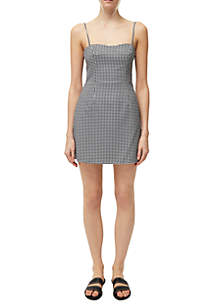 French Connection Gingham Print Tie Back Whisper Dress