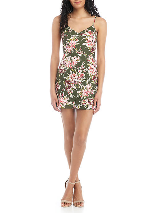 French Connection Floral V Neck Mini Dress