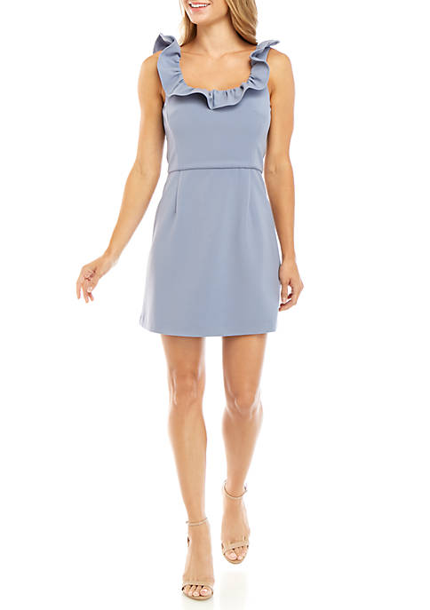 French Connection Whisper Ruffle Square Neck Dress