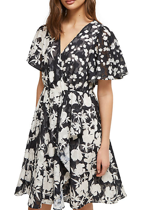 French Connection Short Sleeve Bamba Devore Wrap Dress