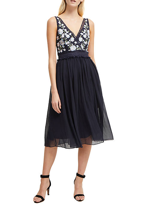 French Connection Abriana Embroidered Tulle Dress
