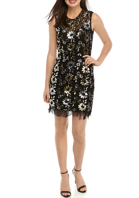 French Connection Sleeveless Lace Sparkle Sheath Dress