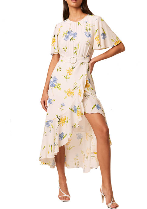 French Connection Flutter Sleeve Floral Drape Dress