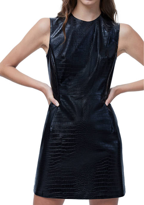 French Connection Polyurethane Crocodile Dress